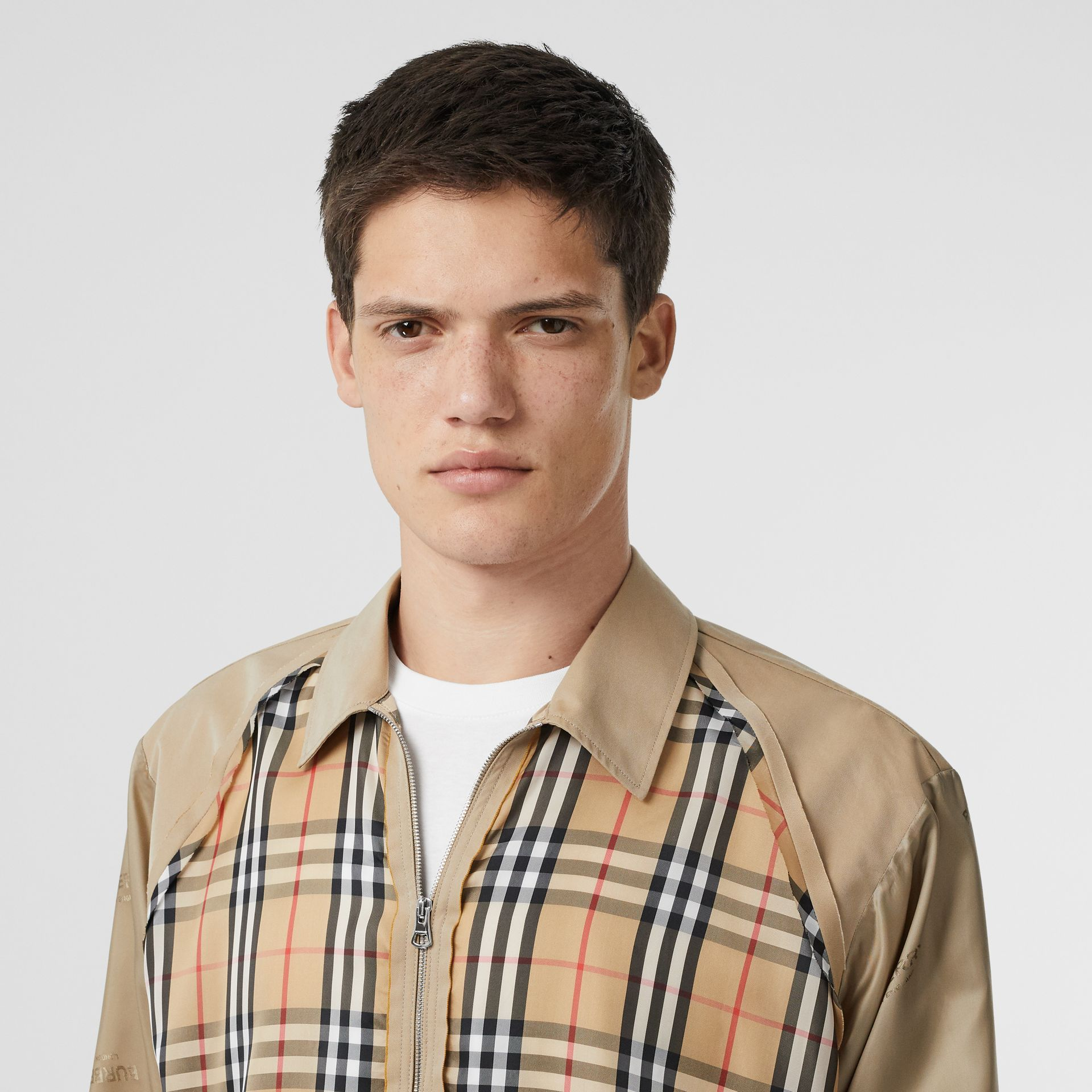 Seam Detail Vintage Check Shirt in Archive Beige - Men   Burberry United States - gallery image 1