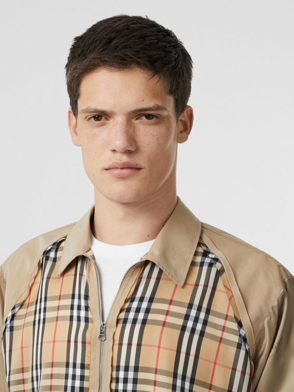 Seam Detail Vintage Check Shirt in Archive Beige - Men   Burberry United States - cell image 1