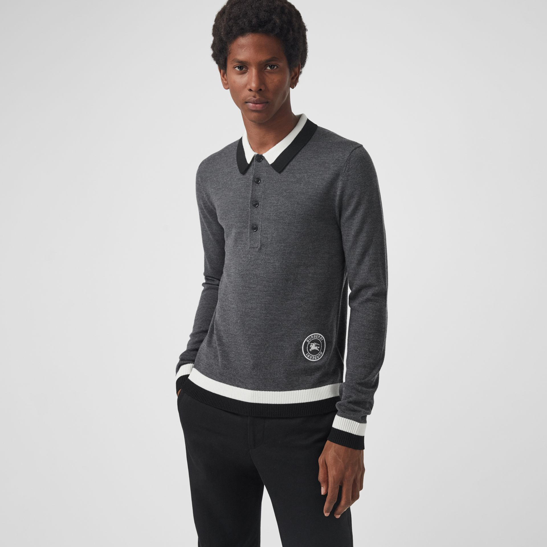 Stripe Detail Merino Wool Long-sleeve Polo Shirt in Dark Grey Melange - Men | Burberry Australia - gallery image 0