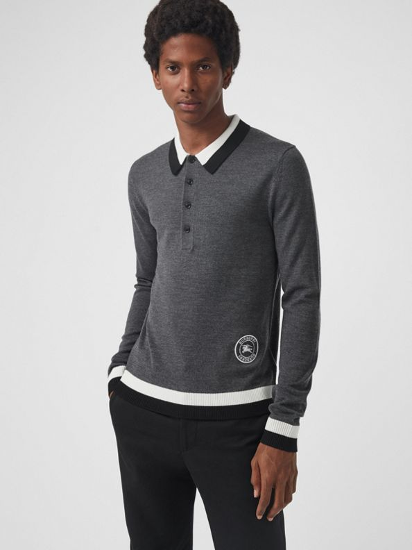 Stripe Detail Merino Wool Long-sleeve Polo Shirt in Dark Grey Melange