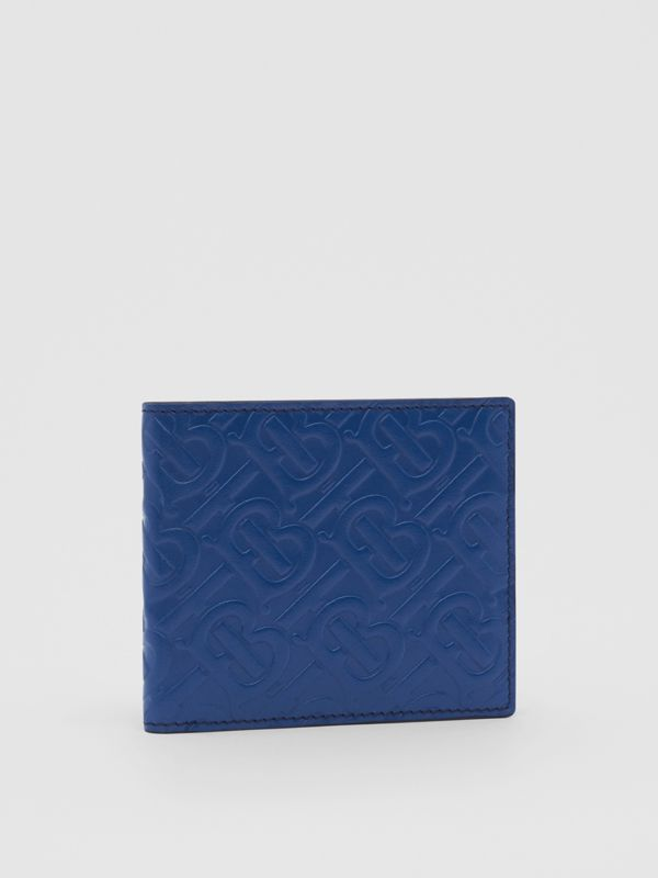 Monogram Leather International Bifold Wallet in Pale Canvas Blue - Men | Burberry United States - cell image 3