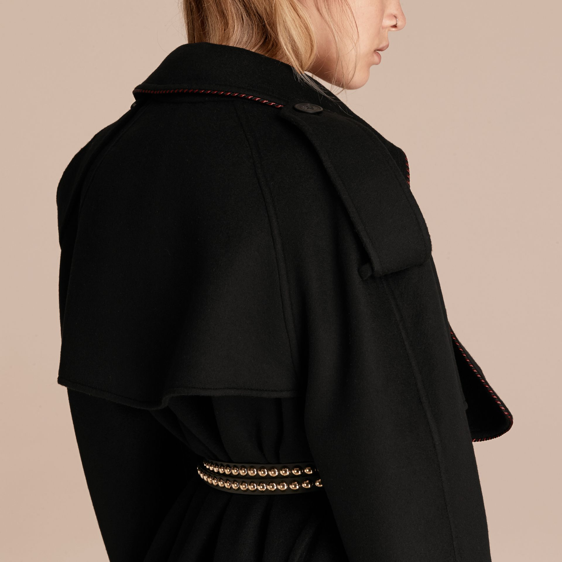 Black Deconstructed Cashmere Wool Trench Coat with Piping - gallery image 6