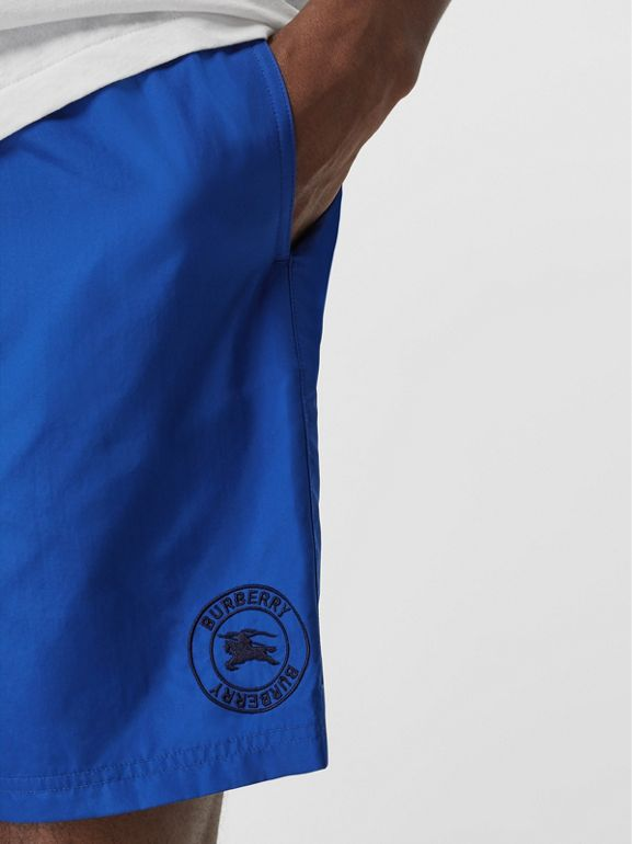 Embroidered Logo Drawcord Swim Shorts in Bright Navy - Men | Burberry - cell image 1