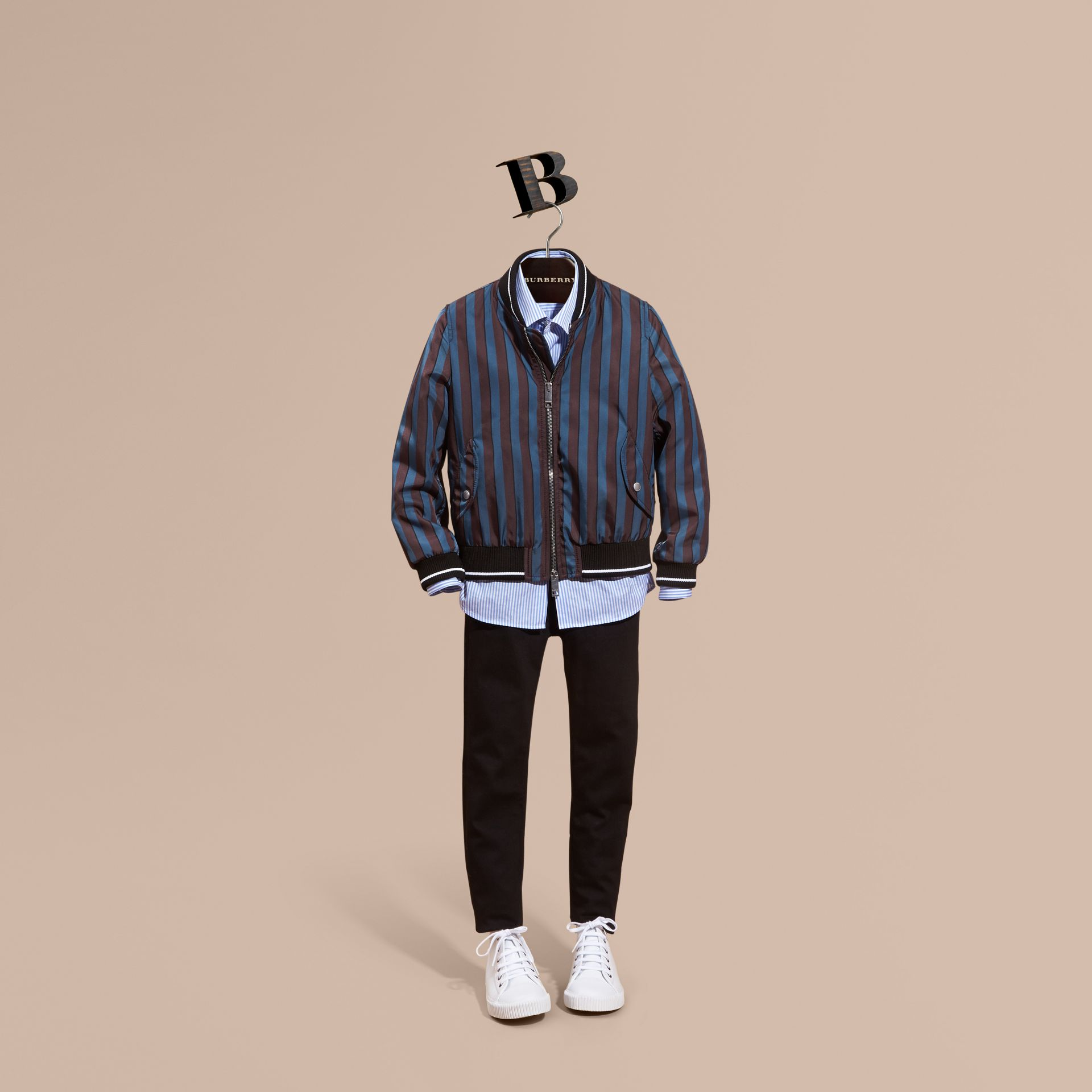 Navy Stripe Print Technical Bomber Jacket - gallery image 1