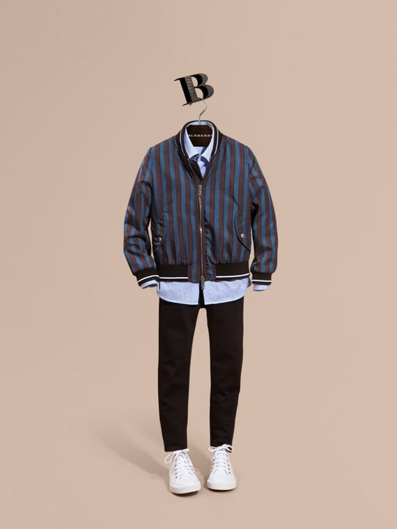 Stripe Print Technical Bomber Jacket