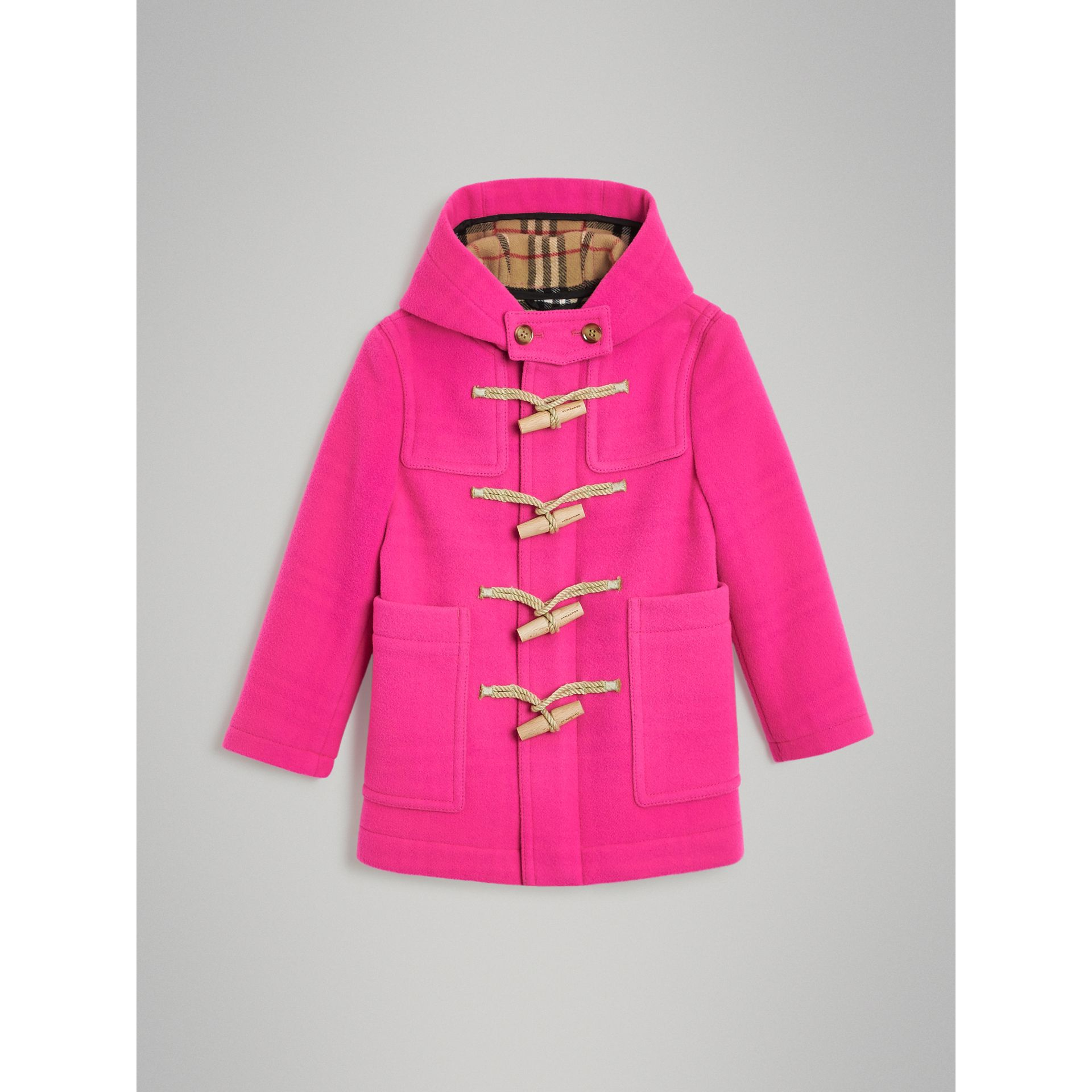 Double-faced Wool Duffle Coat in Neon Pink | Burberry - gallery image 0