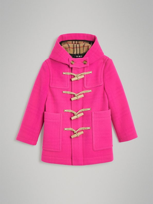 Duffle-coat en laine double face (Rose Néon)