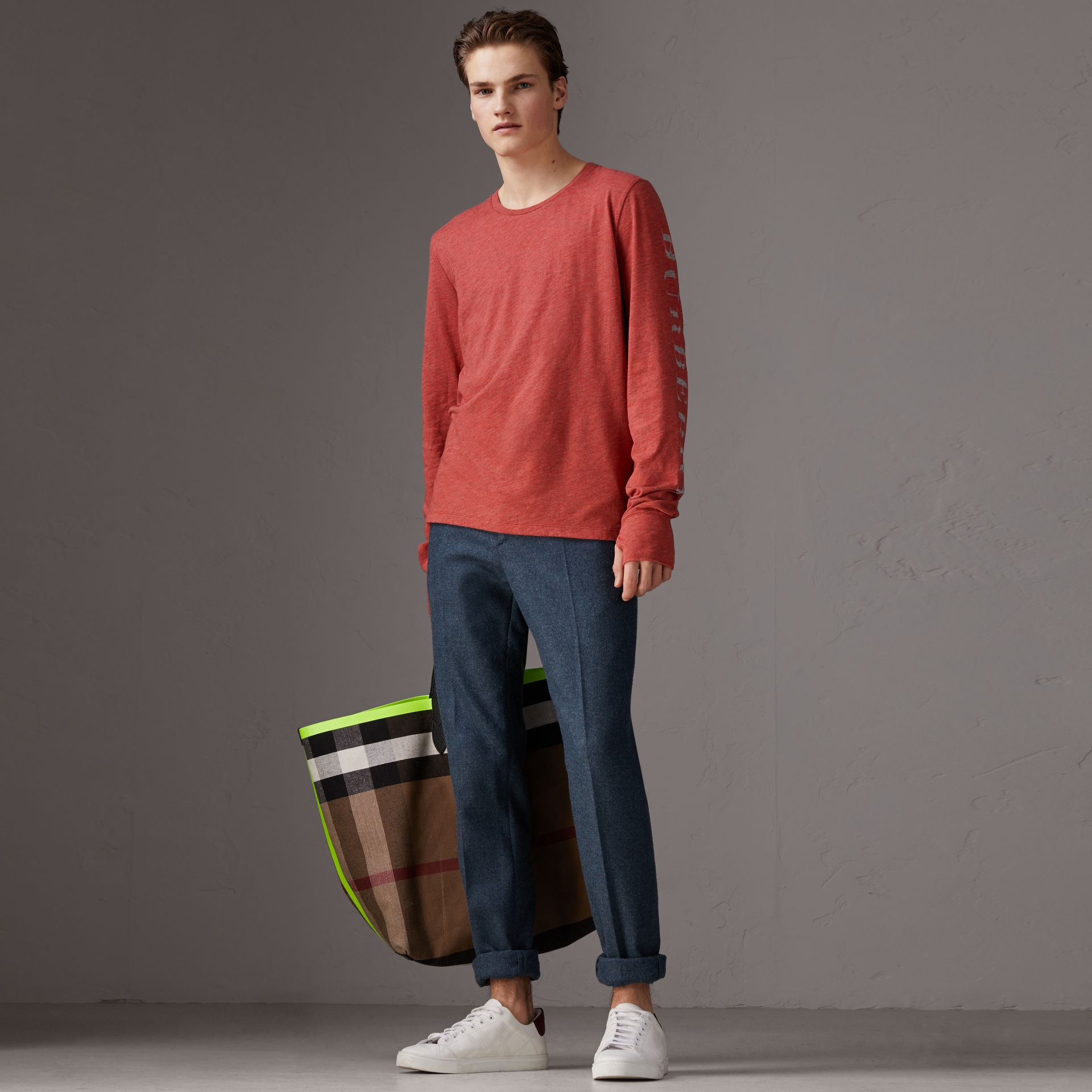 Devoré Jersey Top in Bright Red Melange - Men | Burberry - gallery image 0