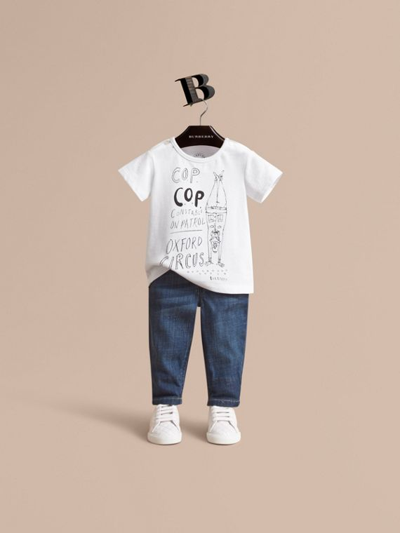 London Icons Print Cotton T-shirt | Burberry