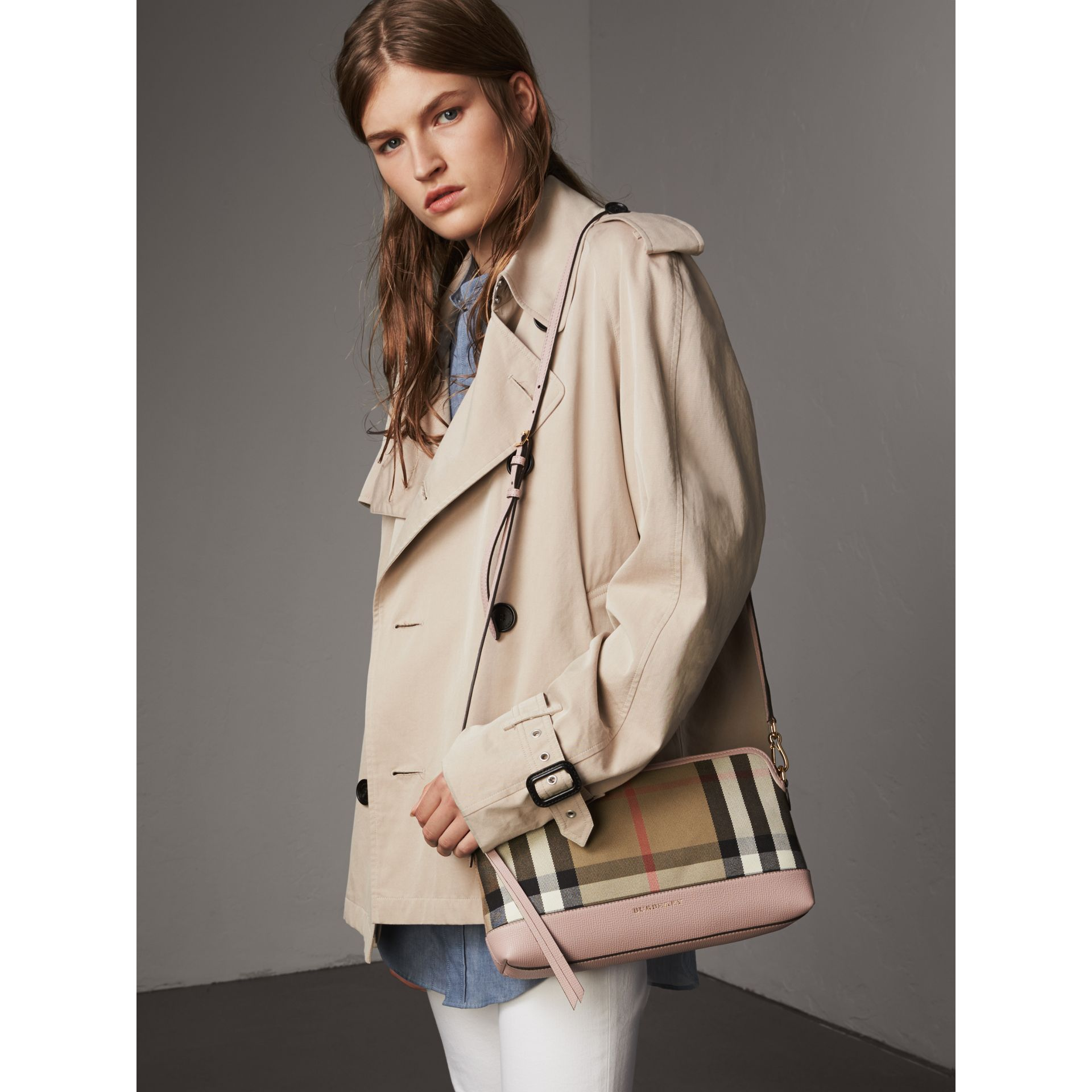 House Check and Leather Clutch Bag in Pale Orchid - Women | Burberry Australia - gallery image 4