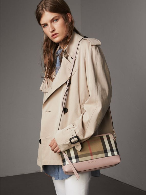 House Check and Leather Clutch Bag in Pale Orchid - Women | Burberry Australia - cell image 3