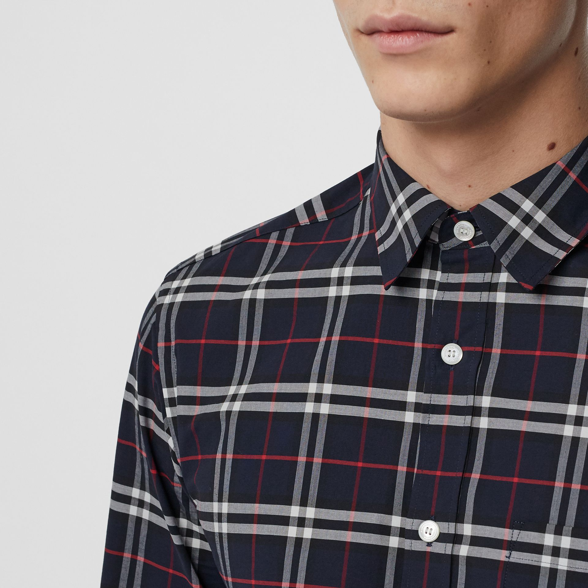 Check Stretch Cotton Shirt in Navy - Men | Burberry Australia - gallery image 1
