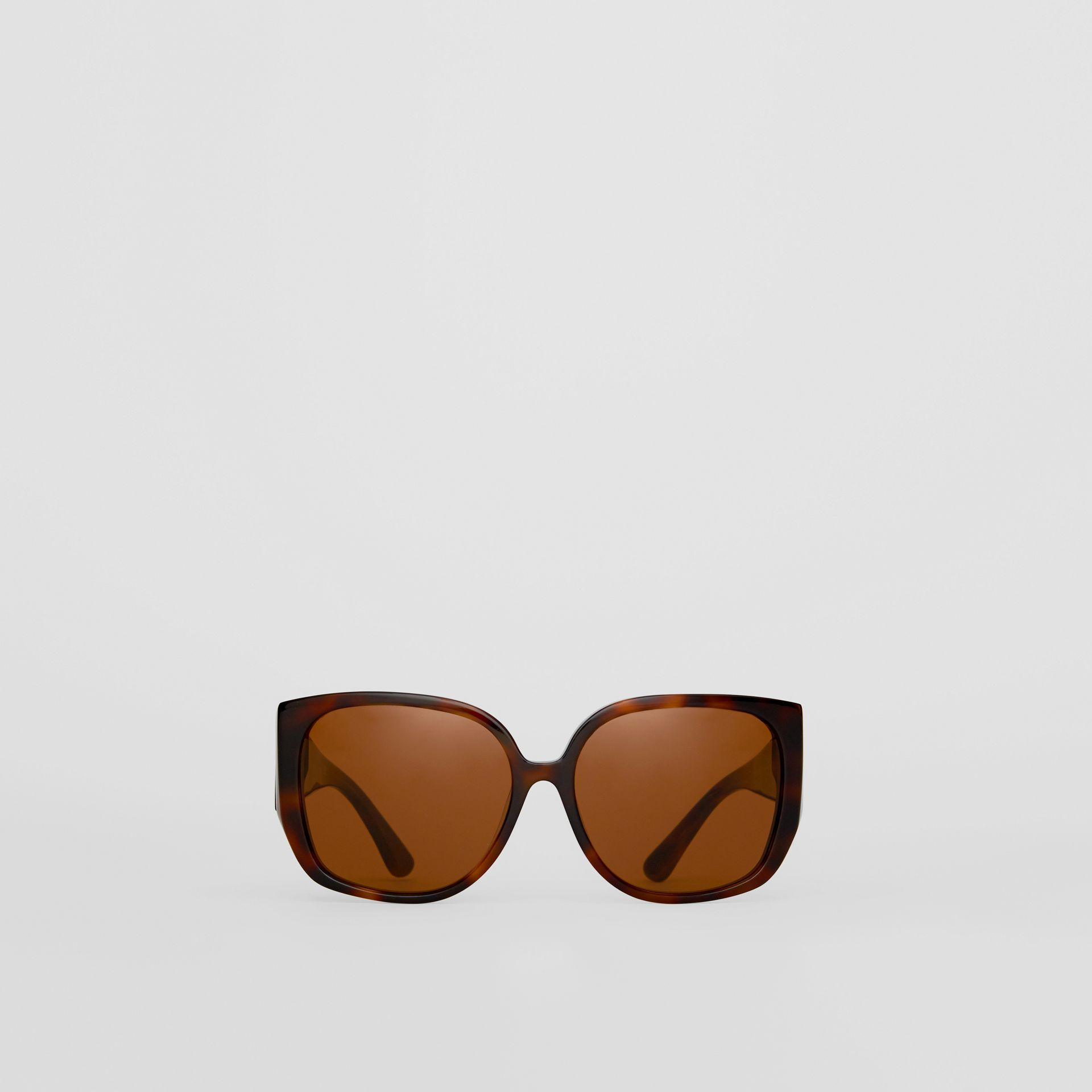 Monogram Detail Round Frame Sunglasses in Tortoise Shell - Women | Burberry - gallery image 0