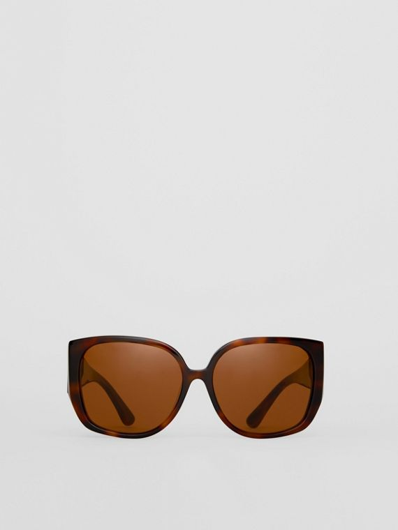 Monogram Detail Round Frame Sunglasses in Tortoise Shell
