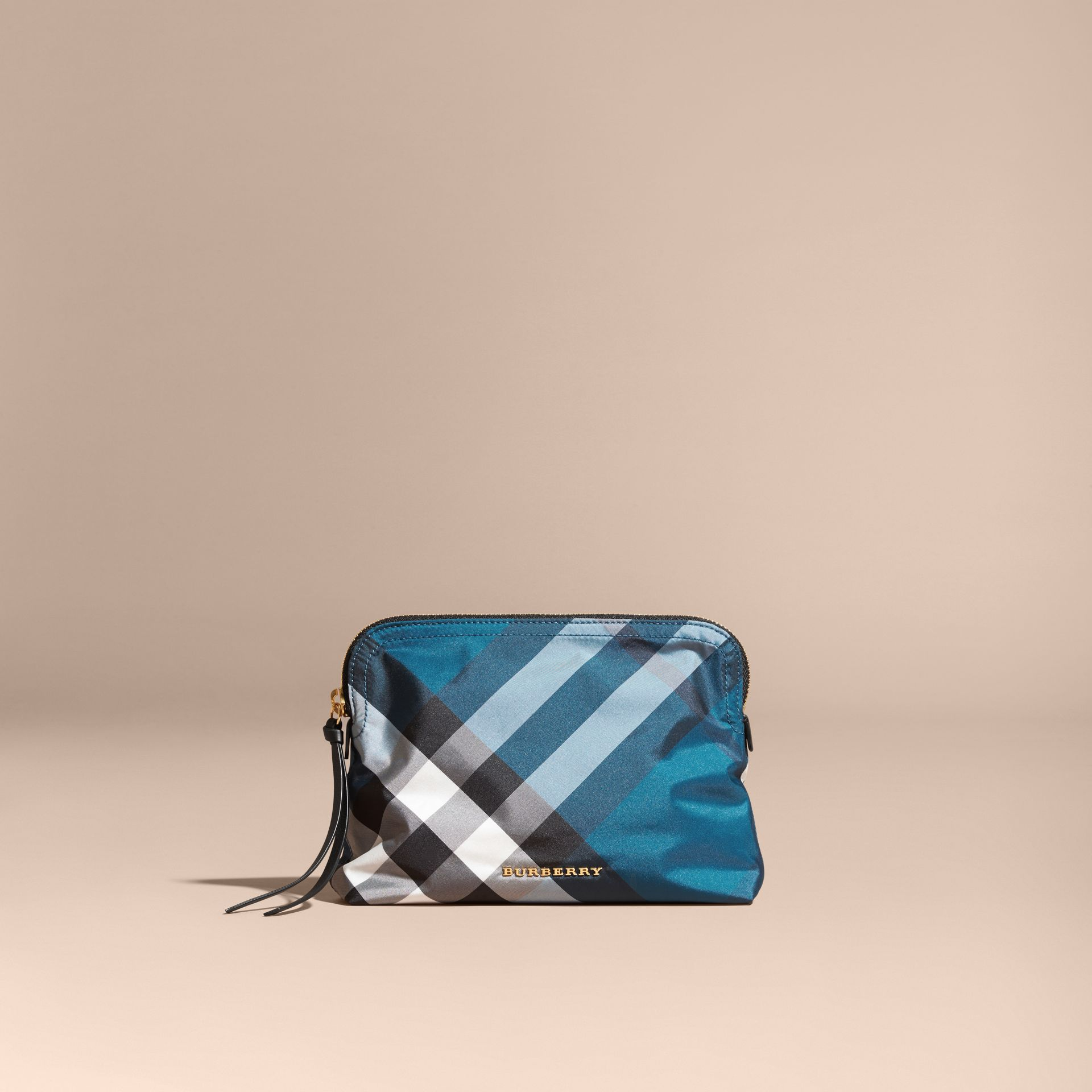Large Zip-top Check Pouch in Marine Blue - Women | Burberry Australia - gallery image 6