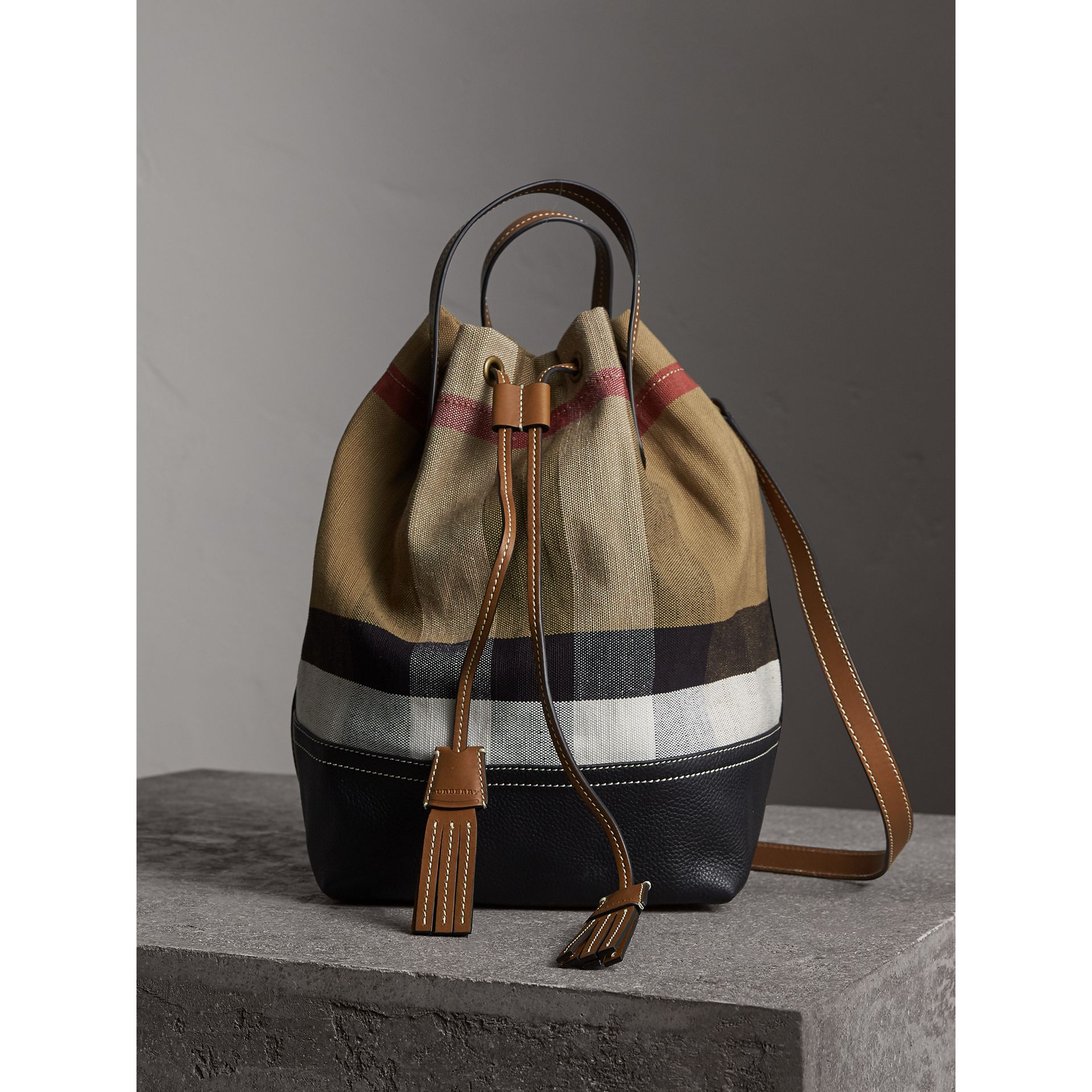 Medium Canvas Check Bucket Bag in Tan - Women | Burberry Hong Kong - gallery image 1