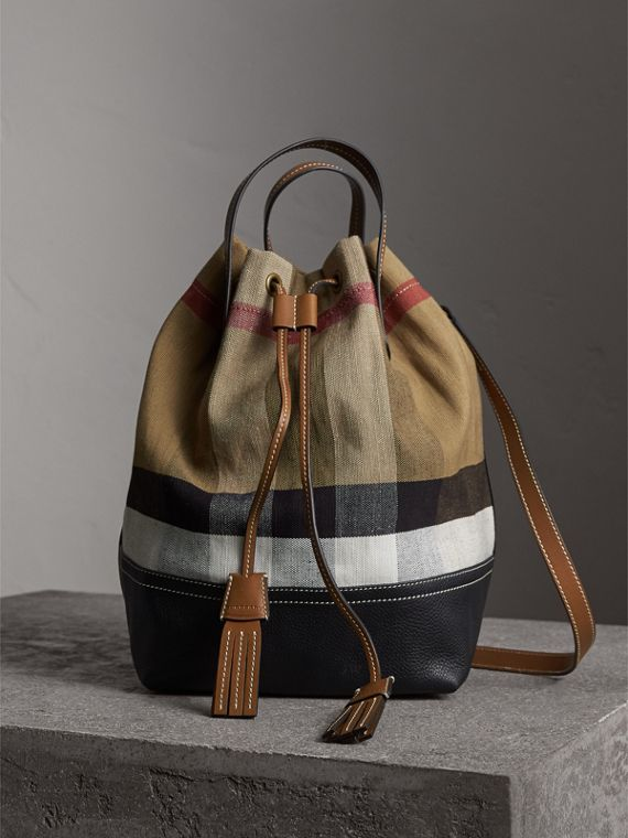 Medium Canvas Check Bucket Bag in Tan