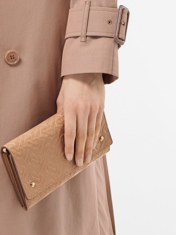 Monogram Leather Wallet with Detachable Strap in Light Camel - Women | Burberry - cell image 2