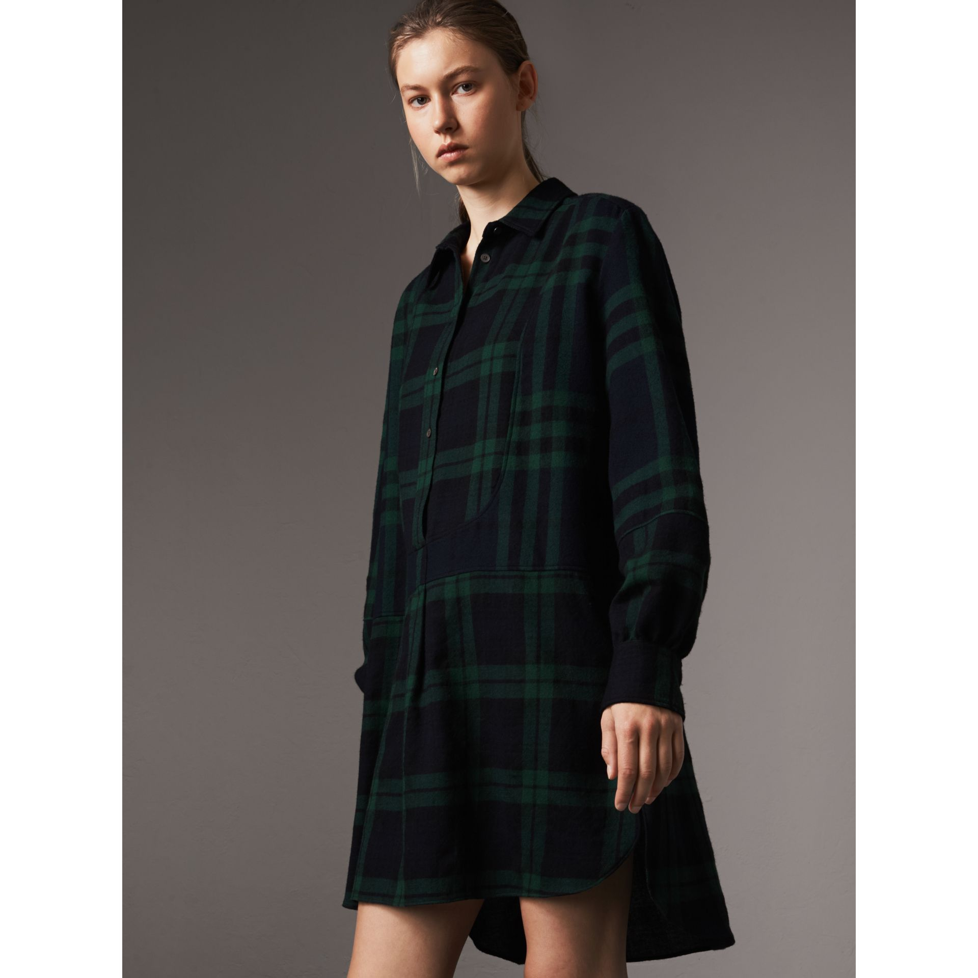 Check Wool Tunic Dress in Navy - Women | Burberry United Kingdom - gallery image 4