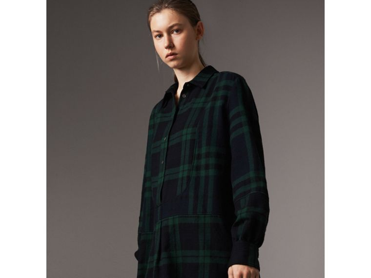 Check Wool Tunic Dress in Navy - Women | Burberry - cell image 4