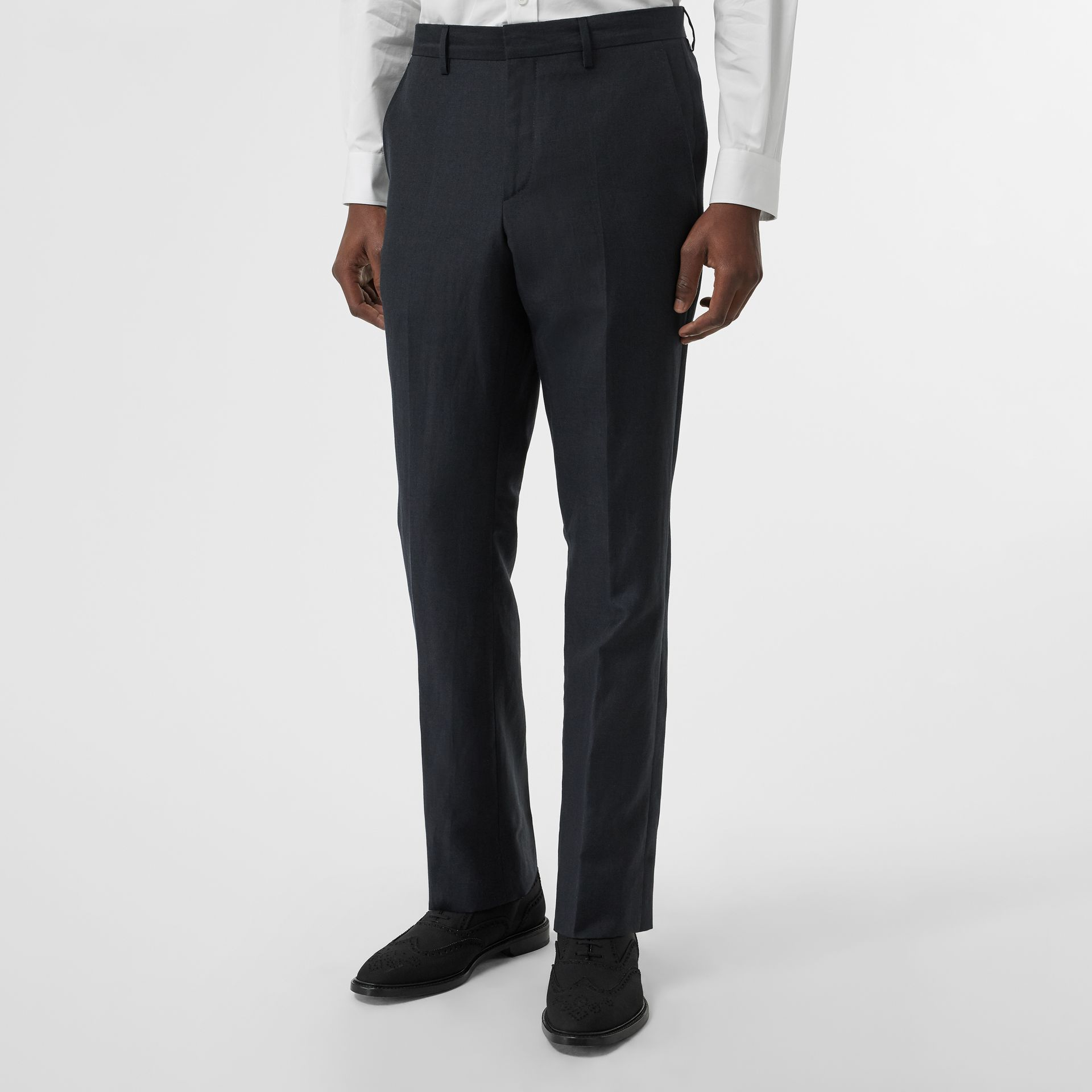 Classic Fit Mohair Linen Silk Tailored Trousers in Navy - Men | Burberry Singapore - gallery image 4