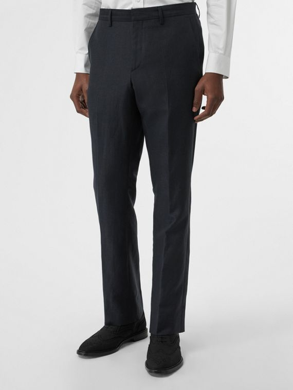 Classic Fit Mohair Linen Silk Tailored Trousers in Navy