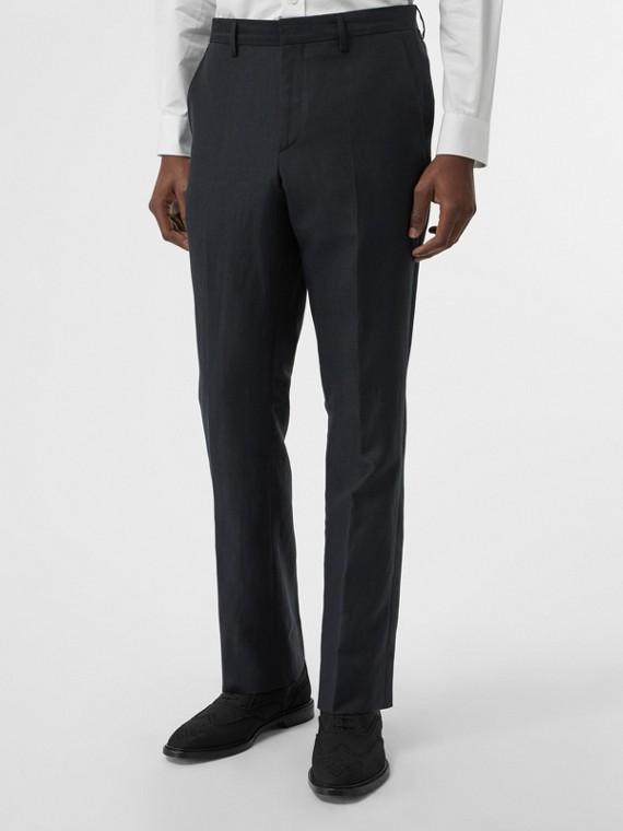 Pantalon de costume classique en mohair, lin et soie (Marine)