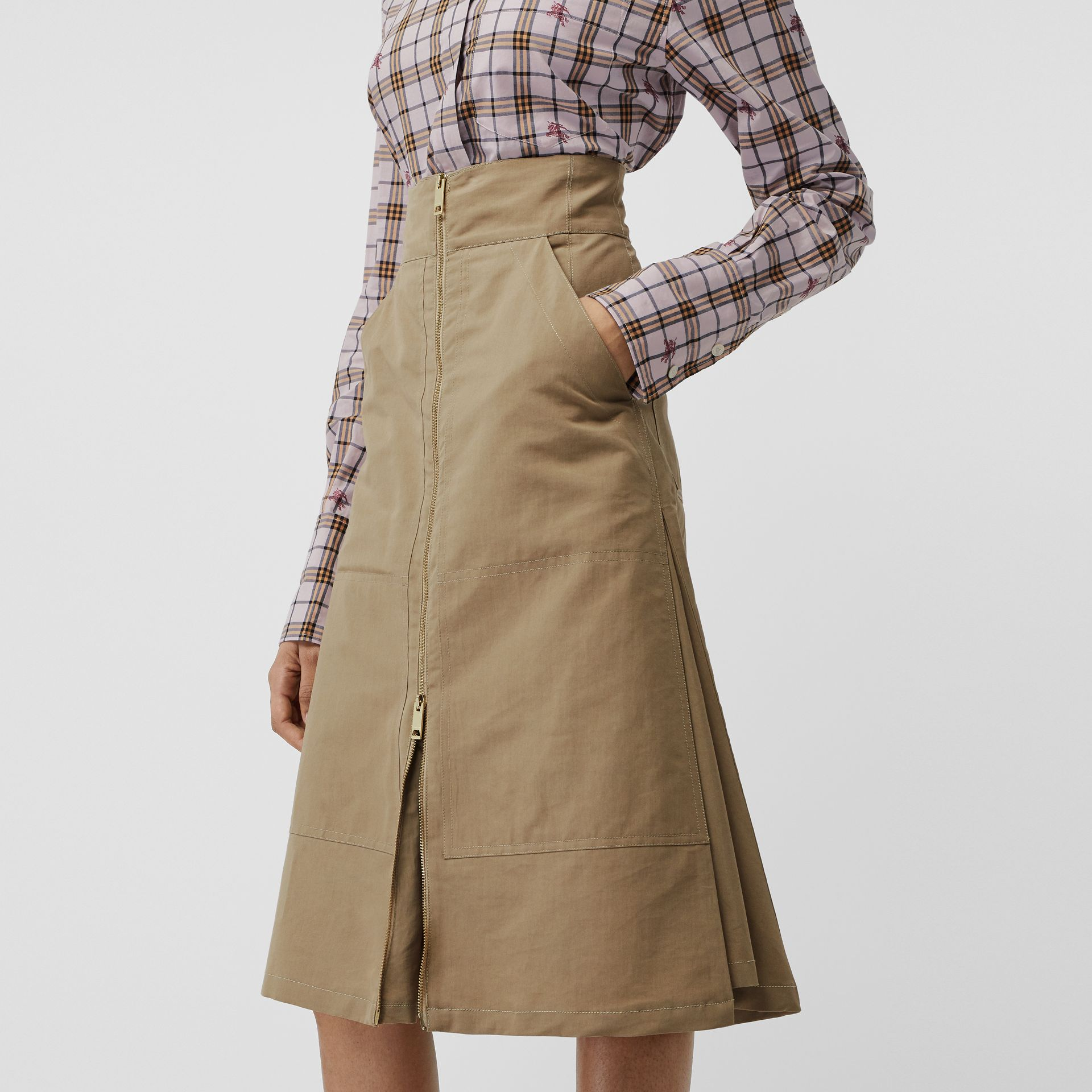 Cotton Silk High-waisted Skirt in Beige - Women | Burberry - gallery image 3