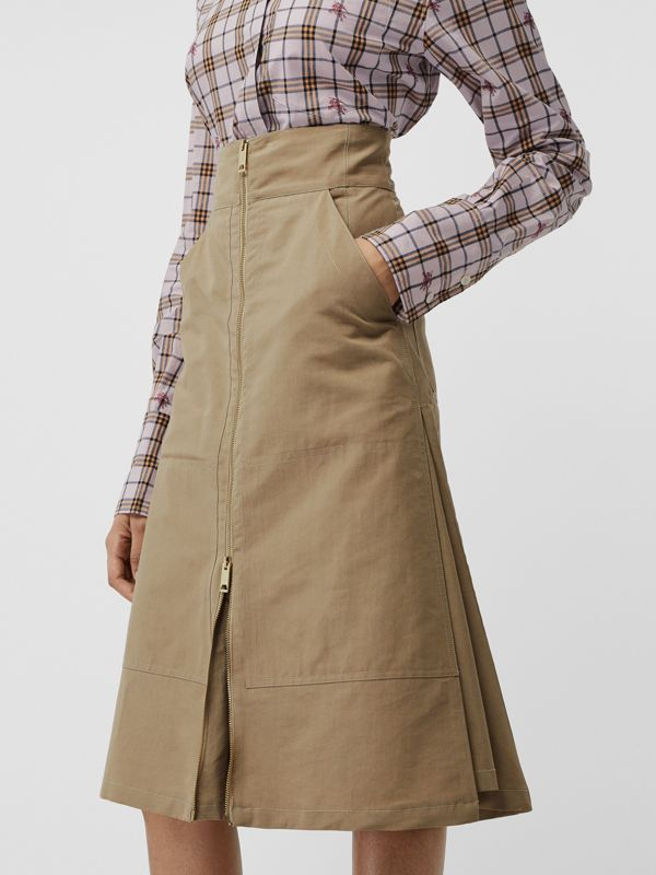 Cotton Silk High-waisted Skirt in Beige - Women | Burberry Canada - cell image 3