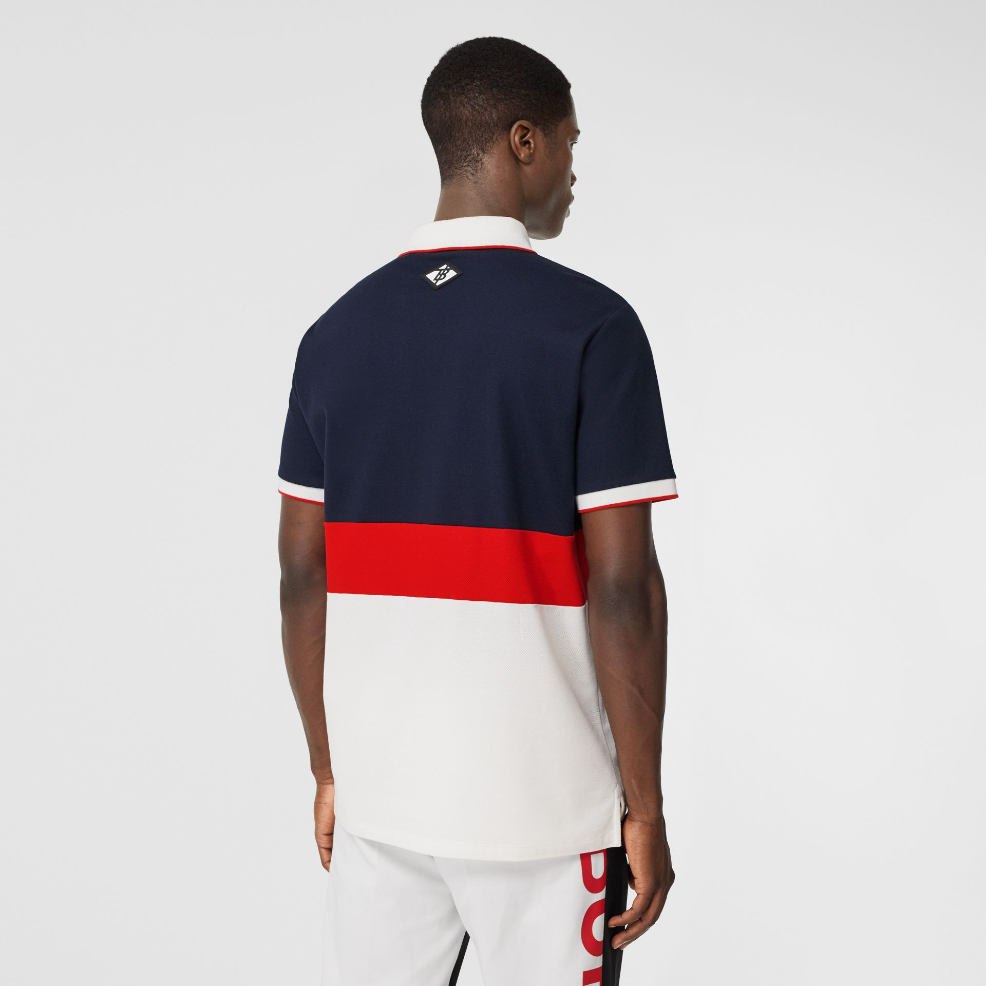 Logo Graphic Cotton Piqué Polo Shirt in Navy - Men | Burberry - gallery image 2