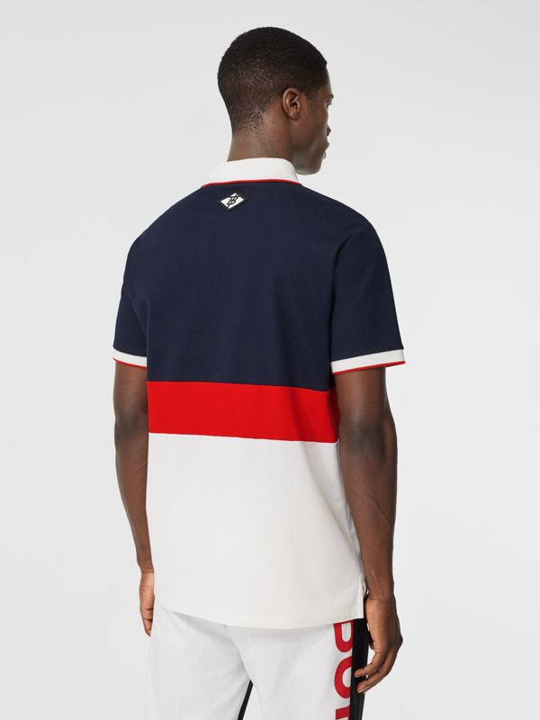 Logo Graphic Cotton Piqué Polo Shirt in Navy - Men | Burberry - cell image 2