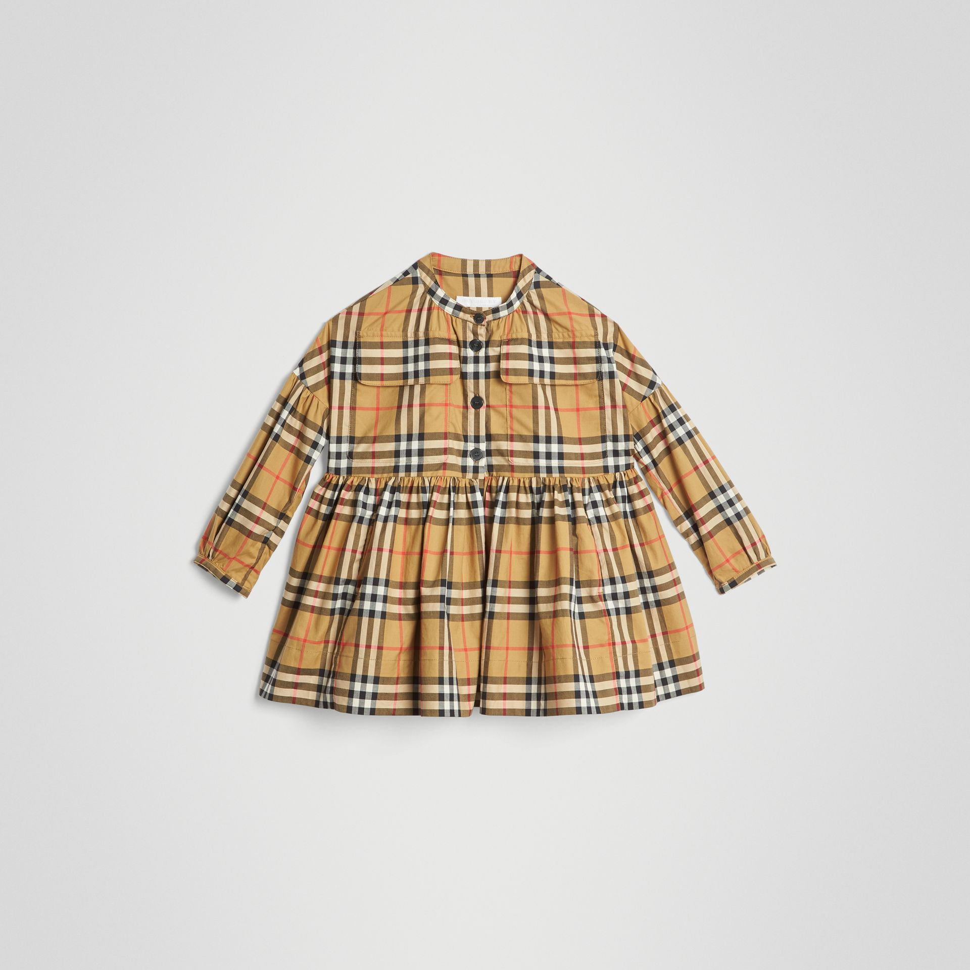 Gathered Sleeve Vintage Check Cotton Dress in Antique Yellow | Burberry United Kingdom - gallery image 0