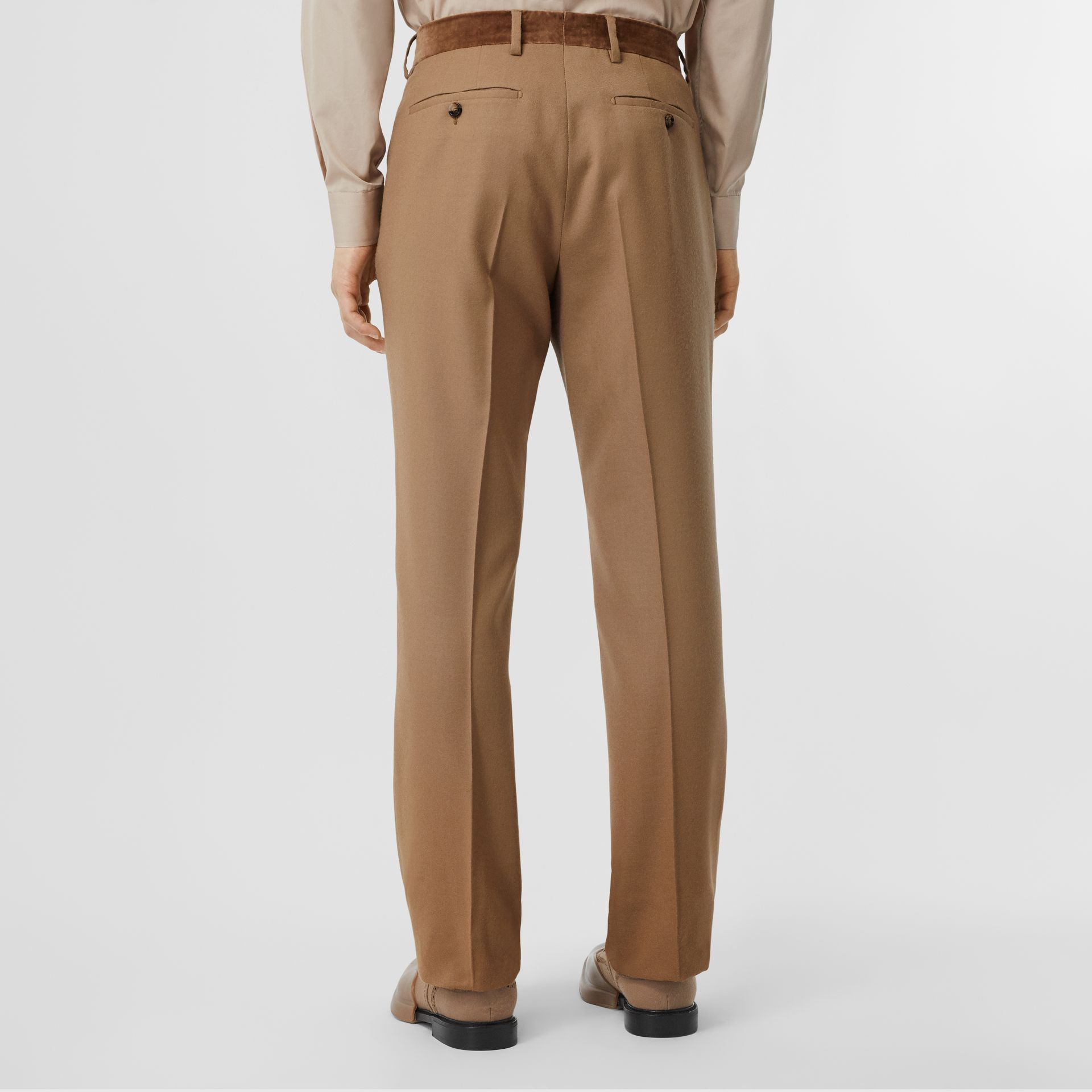 Wool Flannel Tailored Trousers in Warm Camel - Men | Burberry - gallery image 2