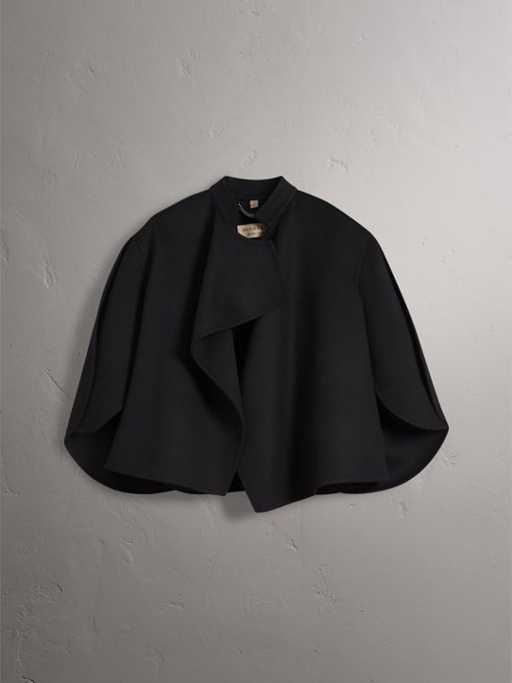 Curved Hem Wool Cashmere Cape in Black - Women | Burberry - cell image 3