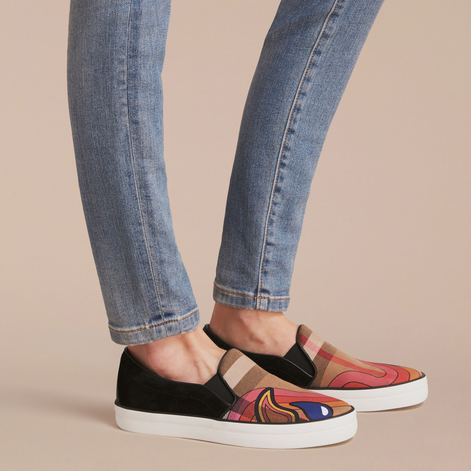 Rainbow Print House Check Cotton and Suede Slip-on Trainers - gallery image 2