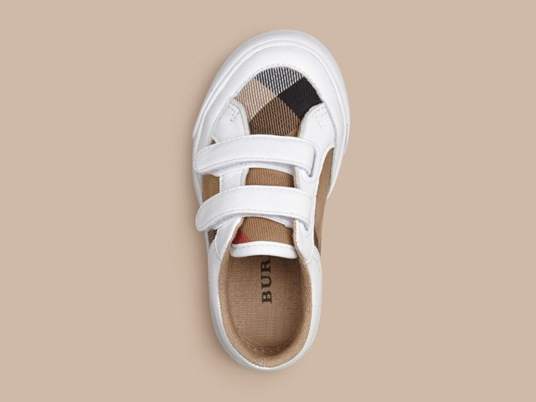 House Check and Leather Trainers in White - cell image 1