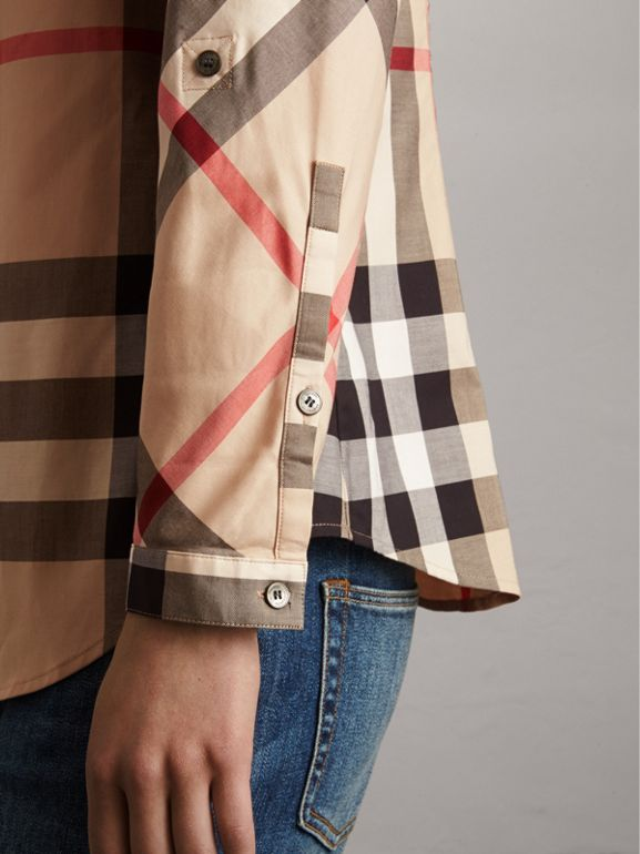 Stretch-Cotton Check Shirt in New Classic - Women | Burberry - cell image 1
