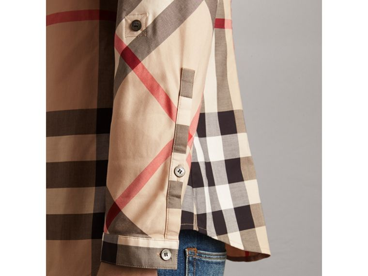 Stretch-Cotton Check Shirt in New Classic - Women | Burberry Canada - cell image 1
