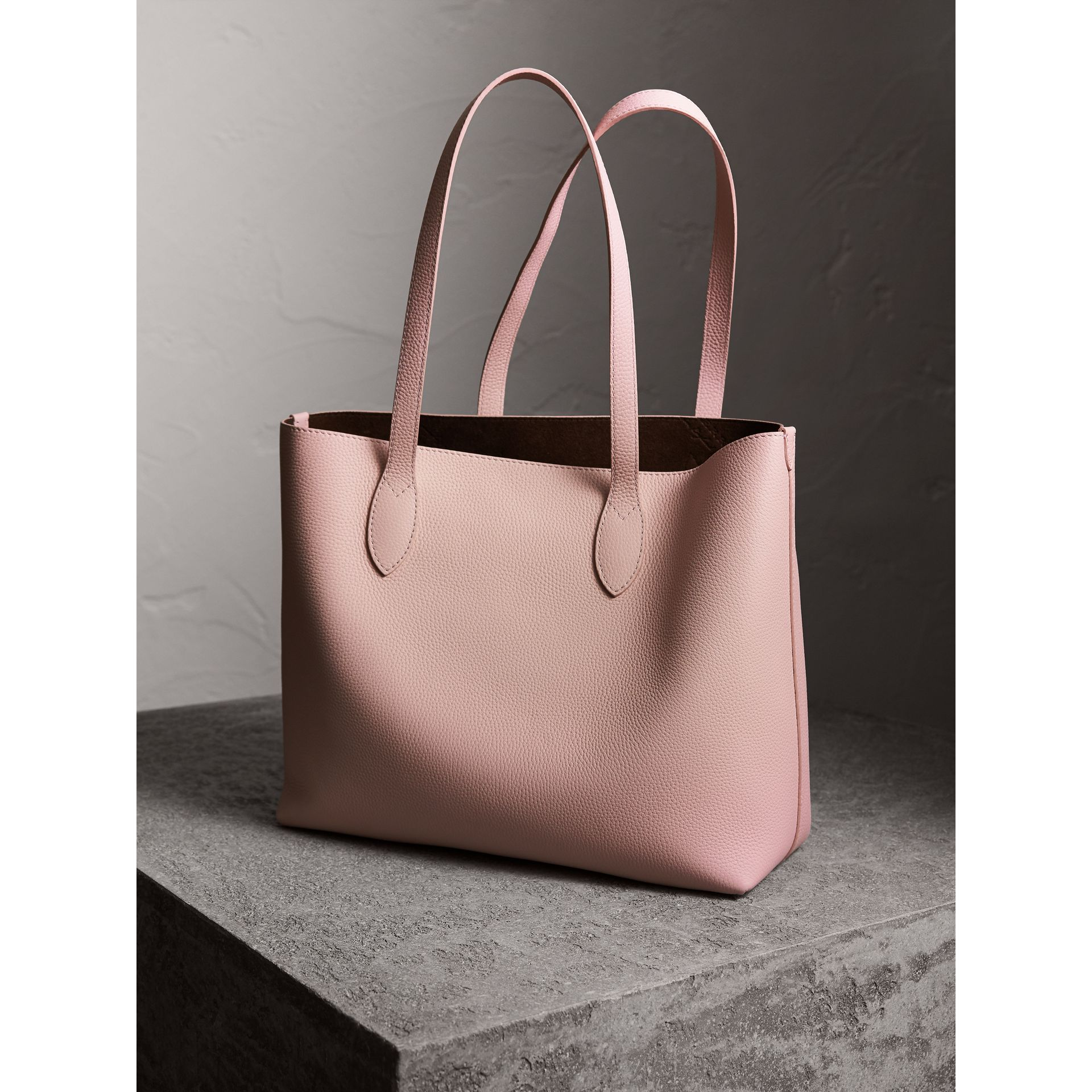 Large Embossed Leather Tote in Pale Ash Rose - Women | Burberry Canada - gallery image 3