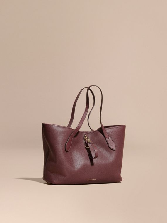 Medium Grainy Leather Tote Bag Mahogany Red