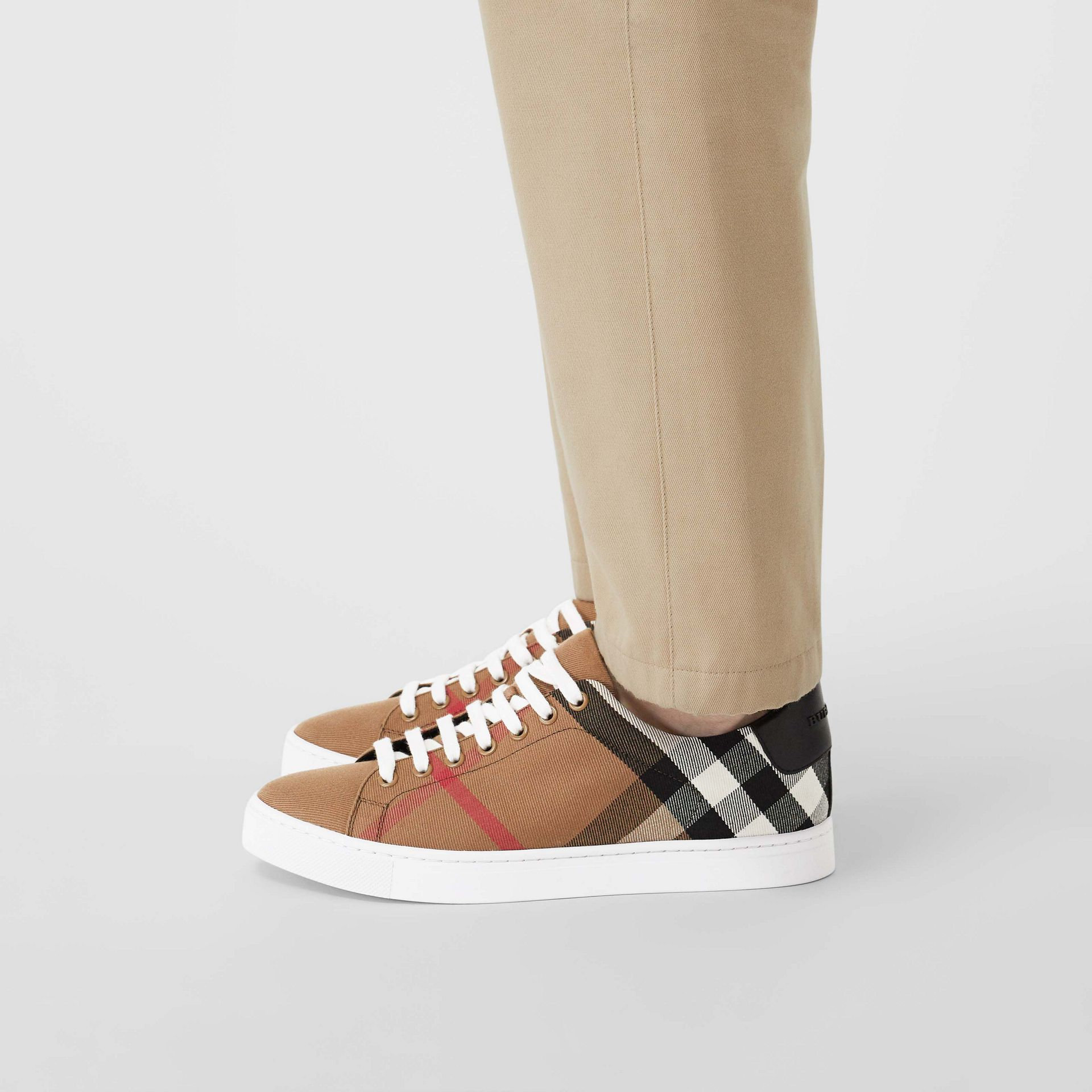 House Check and Leather Sneakers in Check/black - Men | Burberry - gallery image 2