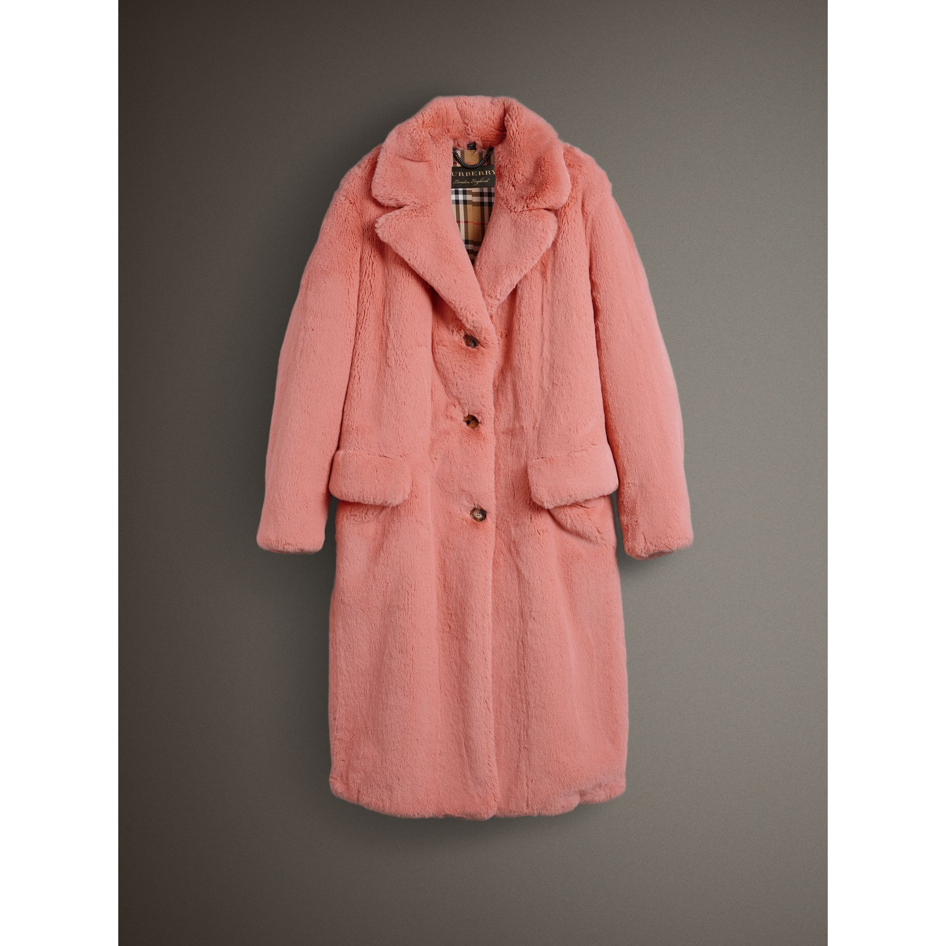 Faux Fur Single-breasted Coat in Pale Pink - Women | Burberry - gallery image 4
