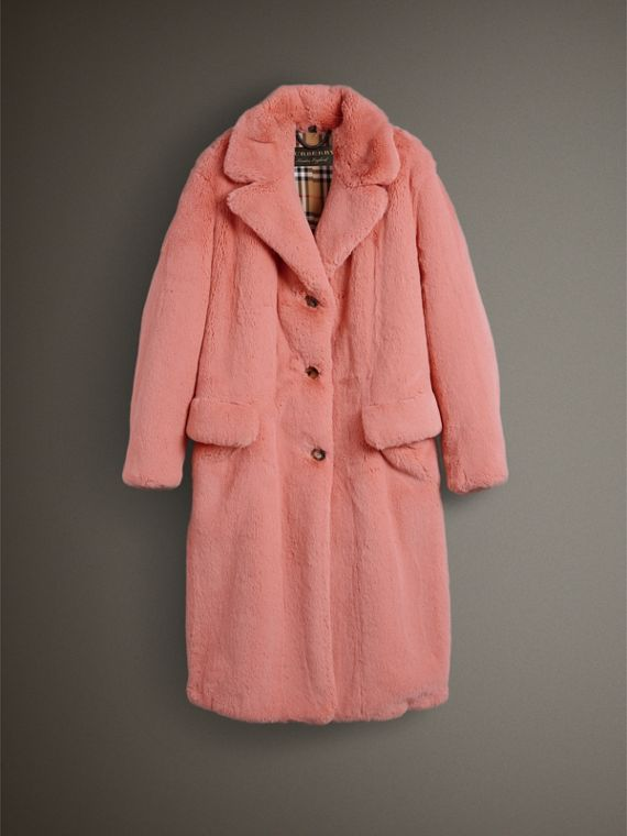Faux Fur Single-breasted Coat in Pale Pink - Women | Burberry - cell image 3