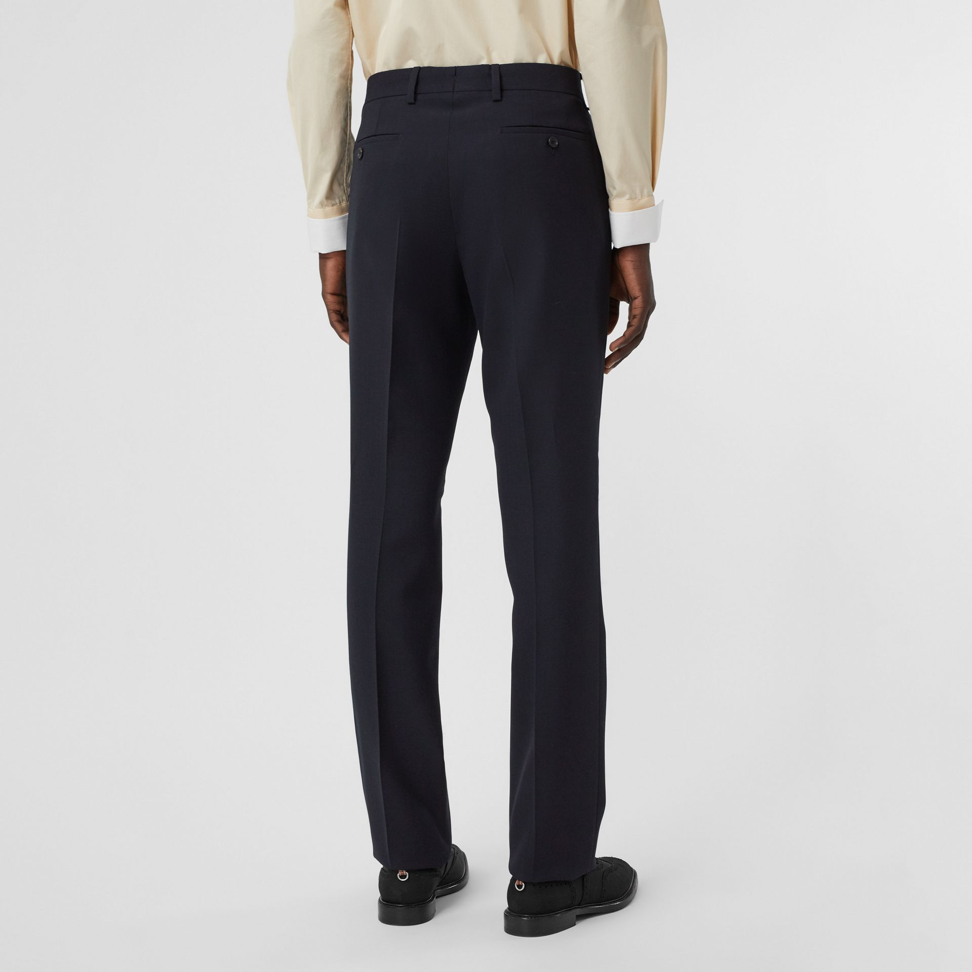Classic Fit Double-faced Wool Crepe Tailored Trousers in Navy - Men | Burberry - gallery image 2
