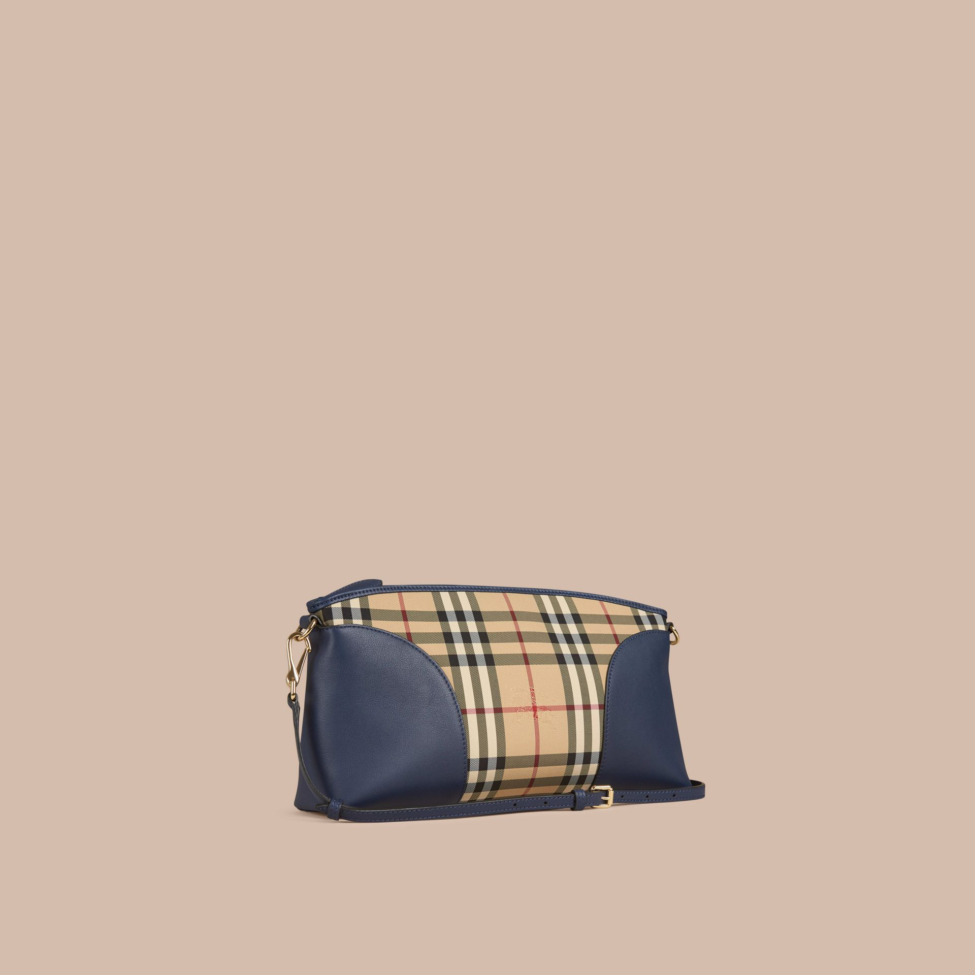 Honey/brilliant navy Horseferry Check and Leather Clutch Bag Honey/brilliant Navy - gallery image 1