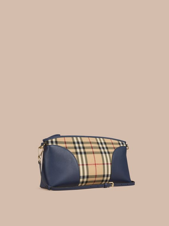 Horseferry Check and Leather Clutch Bag Honey/brilliant Navy