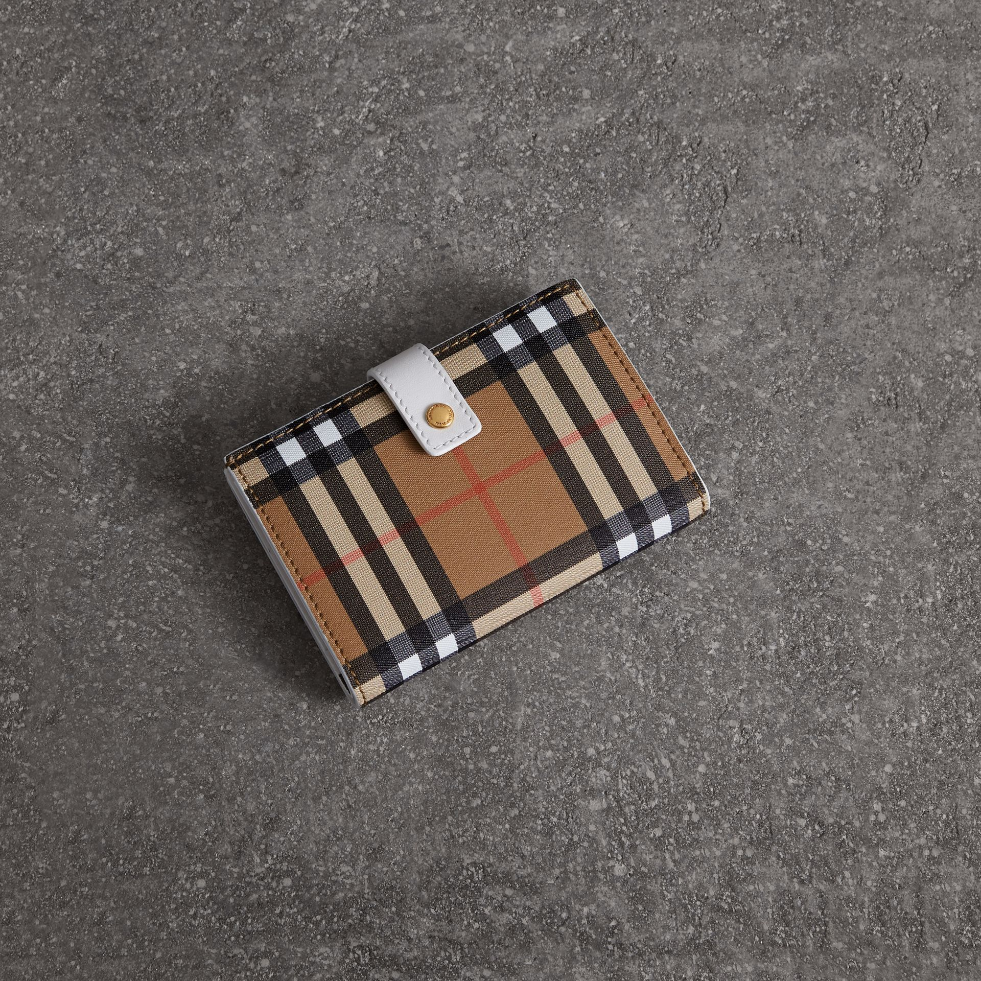 Vintage Check and Leather Folding Wallet in Chalk White - Women | Burberry Singapore - gallery image 0