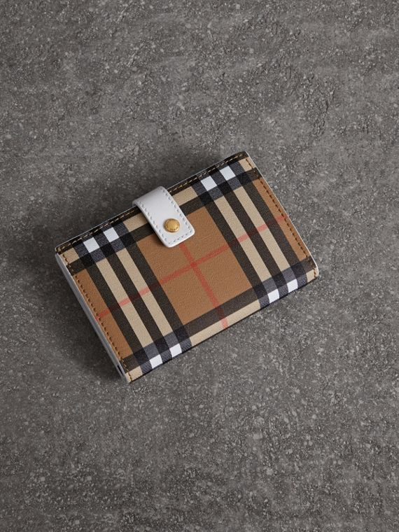 Vintage Check and Leather Folding Wallet in Chalk White