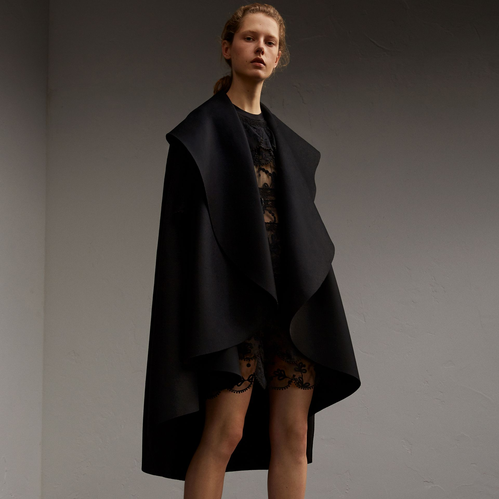 Oversize Collar Double-Faced Military Wool Cape - gallery image 1