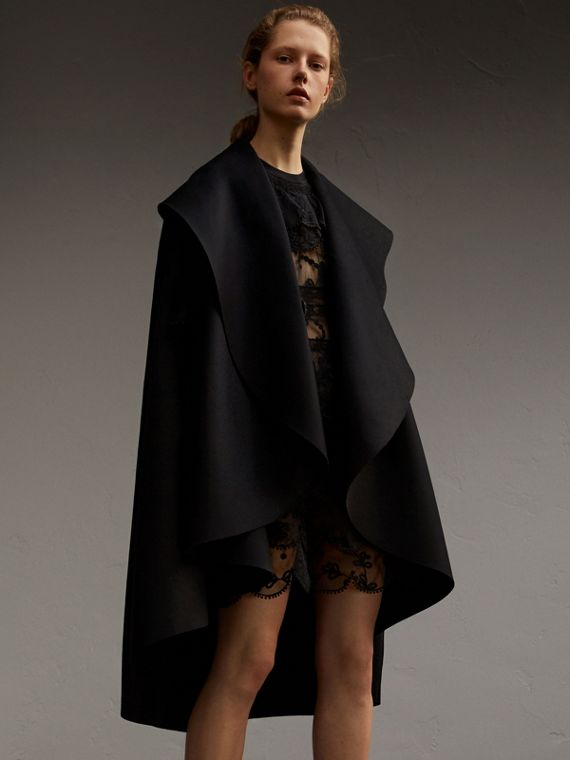 Double-faced Military Wool Cape with Oversize Collar
